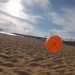 Brothers play with a beach ball outdoors — Stock Video