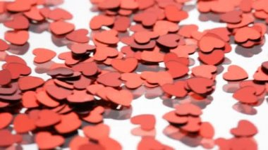 Red hearts confetti — Vídeo Stock