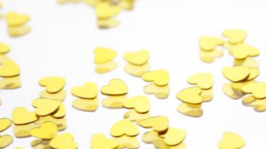 Golden hearts confetti — Vídeo Stock