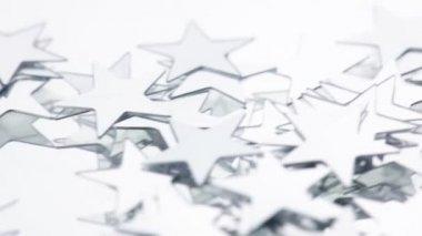 Silver conefetti stars — Stock Video