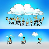 Cloud computing concept. People working and connected through the cloud. — Stock Photo