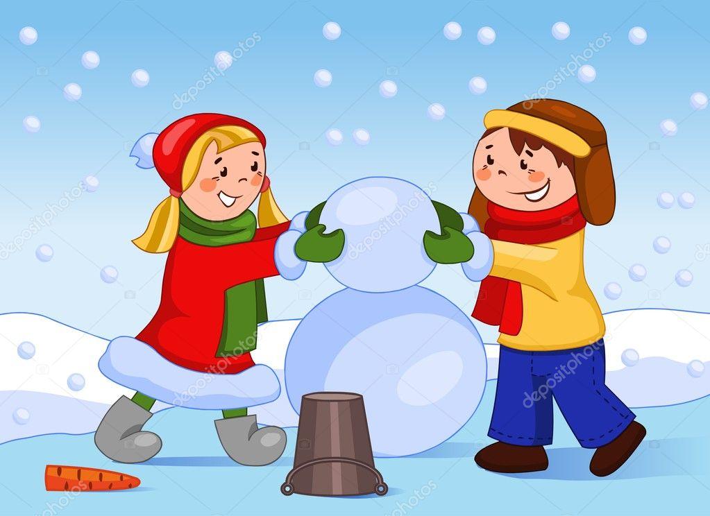 Happy children make a snowman. — Stock Photo © Regisser_com ...