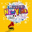 Hipster's New Year, Greeting card — 图库矢量图片