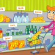 Stock Vector: WomShopping In Grocery Store