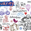 Journey, set of funky doodles — Stok Vektör #32825881