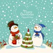 Loving couple of snowmen, christmas card — Stock Vector #32826107