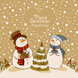 Stock Vector: Loving couple of snowmen, christmas card