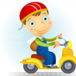 Courier on moped — Stock Vector #32826279