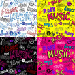 Seamless Sketchy musical theme backgrounds — Stock Vector