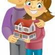 Couple dreaming to their house — Stock Vector