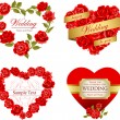 Set of invitation heart frames with red roses — Stockvektor