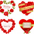 Set of invitation heart frames with red roses — Stockvectorbeeld