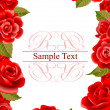 frame made of red roses — Stock Vector