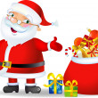 Santa with a bag of Christmas Gifts — Stock Vector