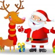 Santa, bag of Christmas Gifts and Deer — Stock Vector #32827733