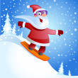 Stock Vector: Santa Claus on snowboard