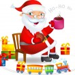 Santa with Hot tea and cookies — Stock Vector