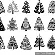 Set of Funny Christmas Trees — Vettoriali Stock