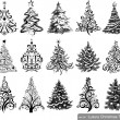 Stock Vector: Set of Drawn Christmas Trees