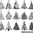 Set of Drawn Christmas Trees — Stock Vector