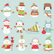 Stock Vector: Funny snowmen set