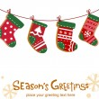 Stock Vector: Christmas stockings, greeting card