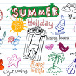 Summer holiday doodles — 图库矢量图片
