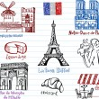 Symbols of France doodles — Stock Vector