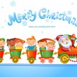 Christmas train with happy kids — Vettoriali Stock
