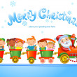 Christmas train with happy kids — Stock Vector #32829171