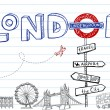 London Doodles — Vettoriali Stock