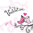 Kissing birds, Valentine card — Imagen vectorial