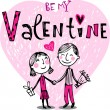 Valentines couple, Valentine card — Stockvektor