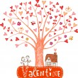 Valentine tree, leaves are hearts — Vettoriali Stock