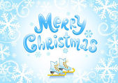 Christmas banner and skates — Stock Vector