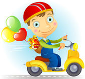 Courier on a bike with baloons and gifts — Stock Vector