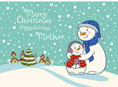 Mum the snowman cares of her child — Vetorial Stock
