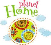 Planet home, ecology concept — Stock Vector