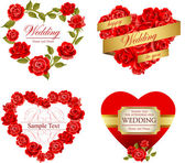 Set of invitation heart frames with red roses — Stock Vector