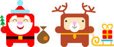 Cartoon santa and deer — Stock Vector