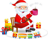 Santa with Hot tea and cookies — Vetorial Stock