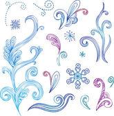 Doodle winter design elements — Stock Vector