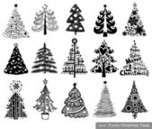 Set of Cute Christmas Trees — Stock Vector
