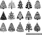 Set of Funny Christmas Trees — Stock Vector
