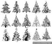 Set of Luxury Christmas Trees — Stock Vector