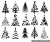 Set of Modern Christmas Trees — Stock Vector