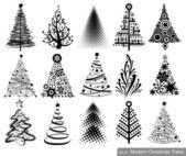 Set of Modern Christmas Trees — Stock Vector