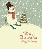 Snowman on skis, retro Christmas card — Stock Vector