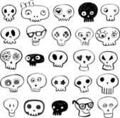 Skulls doodles — Stock Vector