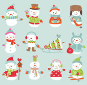Funny snowmen set — Stock Vector